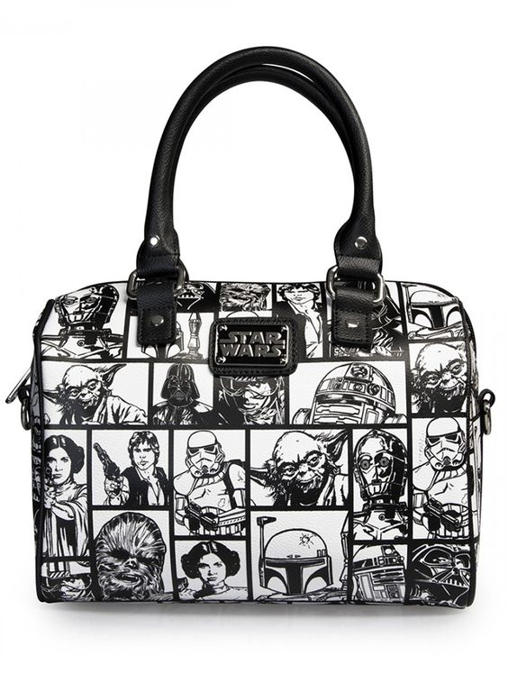 """Star Wars Comic Print"" Leather Duffle by Loungefly (Black/White)"