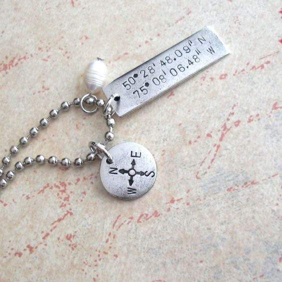 GPS Coordinates Necklace with Compass Point and by TipsyWhimsey, $20.00