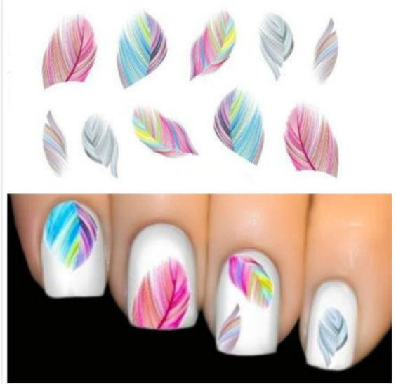Colourful Feathers Nail Art Water Transfers