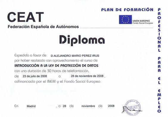 2008 Curso Formacion sobre la Ley de Proteccion de Datos con Certficado Diploma Realizado por AlejandroPI Alejandro Perez Irus