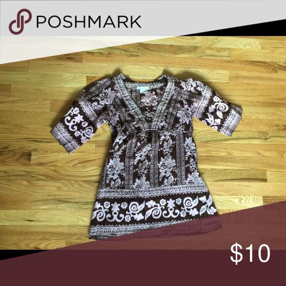 Bohemian peasant tunic. Brown with purple/pink design. Cute comfy top. Bohemian style. Boho Charlotte Russe Tops Tunics