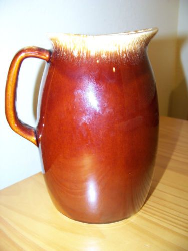 "VINTAGE HULL POTTERY BROWN DRIP GLAZE MILK WATER PITCHER JAR 7"" 1 QT EXCELLENT!"