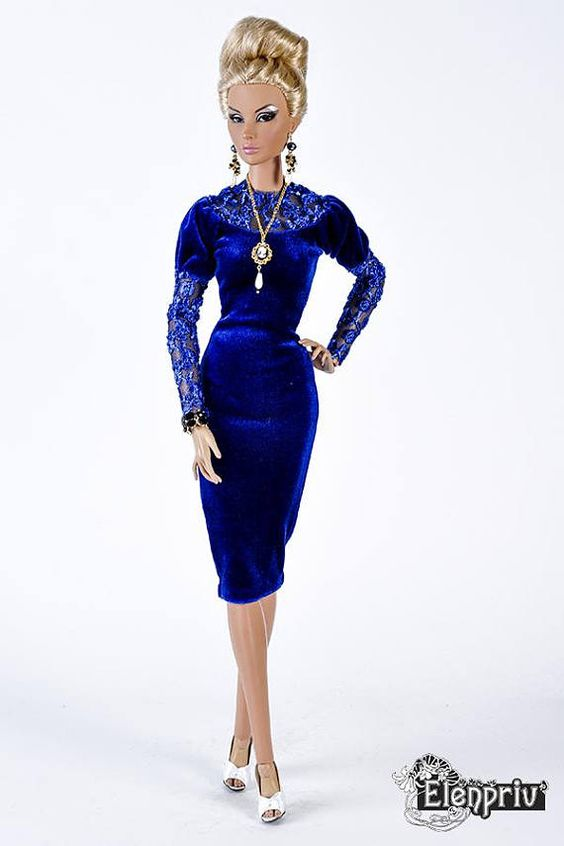"ELENPRIV royal blue velvet dress with lace for Fashion Royalty 16"", ITBE 16"", FR:16 and similar size"