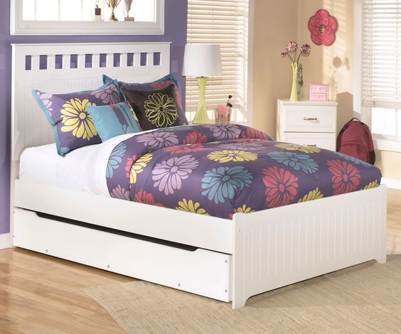 Lulu b102 full size panel bed with trundle ashley kids - White bedroom furniture for girl ...