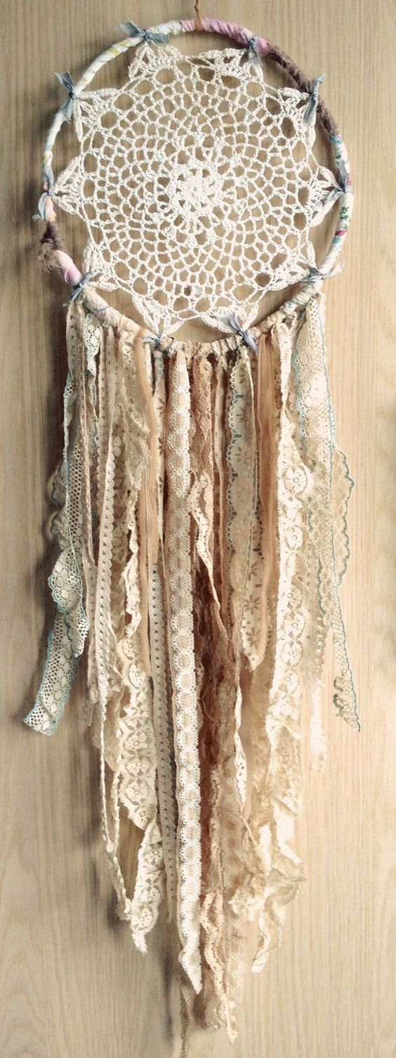 Combine those crochet skills with lace oddments like this unusual twist on a dream catcher. ©www.pinterest.com: