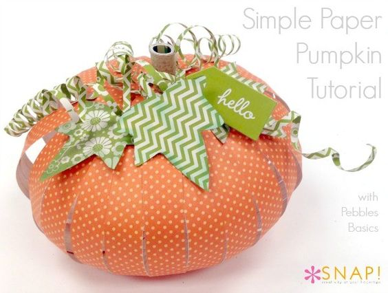 2014 Cute Polka Orange Pumpkin Paper Fall Crafts - Stripe Green and White Paper for Leaf  #2014 #Thanksgiving