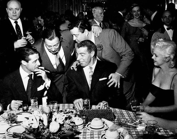 Don Ameche, Toots Shor, Jackie Gleason & MM at Toots Shor ...