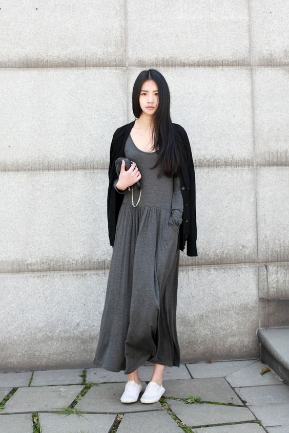 maxi dress + cardigan + white sneakers : Asian, quirk:
