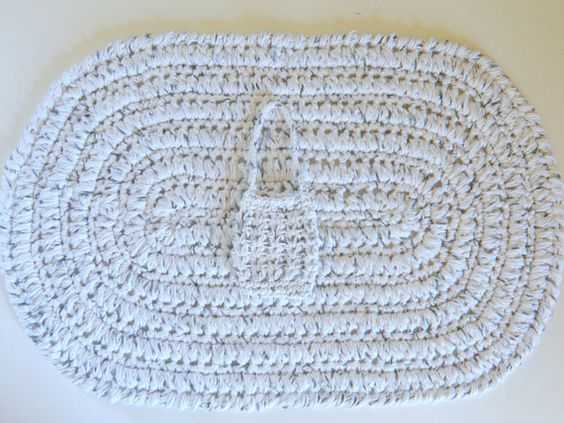 Oval Cotton Bath Mat White w/ Black Crochet by CottageCoveCrochet