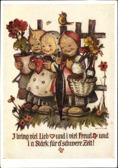 Artist Postcard Hummel, I bring viel Lieb und i viel Freud und i a Stärk..