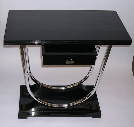 art deco chrome tables streamline art deco console table in black lacquer and chrome image black and chrome furniture