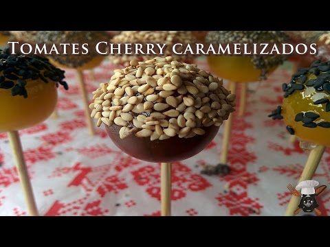 Chupa chups de tomates cherry caramelizados con sesamo - YouTube