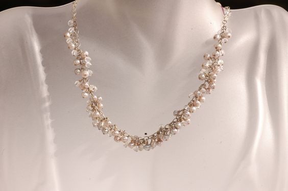Cluster of Pearls & Crystal on Sterling silver Necklace
