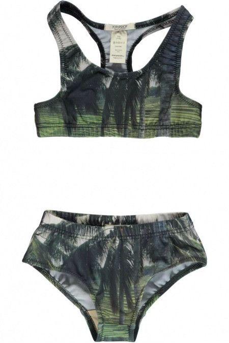 Palm Print Racer Swimsuit
