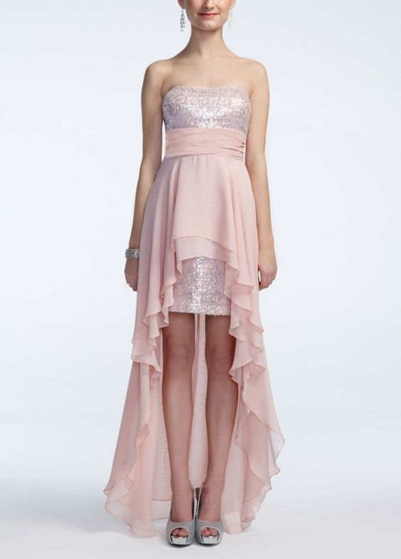 Strapless High Low Sequin Chiffon Dress - David's Bridal
