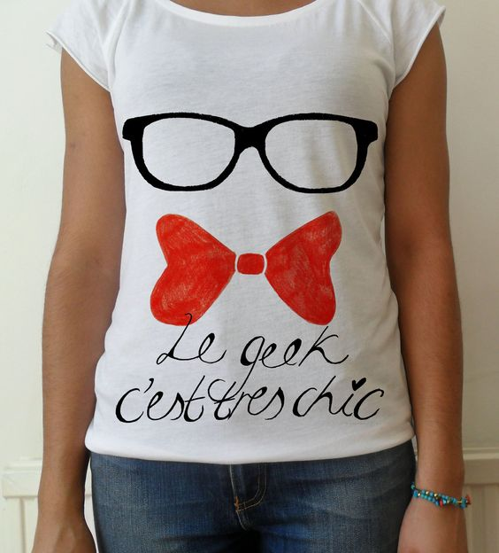 Hand stenciled Geek glasses bow tie french lettering by MTwear, £16.00