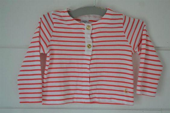 Gilet en coton jersey fin, blanc à rayures rose corail, boutons et broderie dorés Petit Bateau - 18M