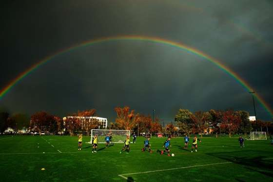 MELBOURNE, AUSTRALIA - MAY 12:  A general view as a double rainbow forms overhead during a Melbourne... - Scott Barbour/Getty Images)