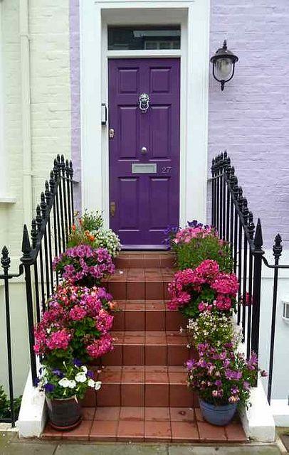 Caminho florido ate a porta.