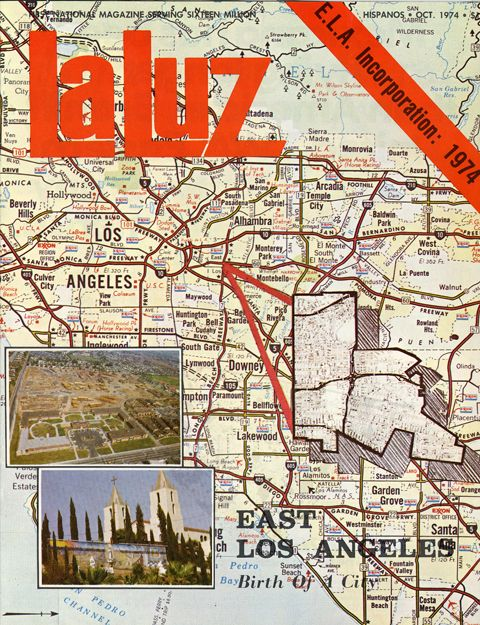 During the 1960s and 1970s, many Mexican-American residents of East Los Angeles began an attempt to incorporate their neighborhood into a separately-governed city. This 1974 issue of La Luz magazine covered this issue in-depth. Journalist Frank del Olmo collected this magazine and other information like it to help in the background research of his newspaper articles. Frank del Olmo Papers. Latino Cultural Heritage Digital Archives.