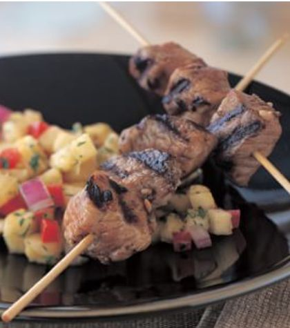 grilled pork skewers with pineapple or mango salsa