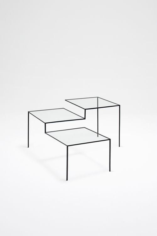 Thin black lines coffee table by Nendo