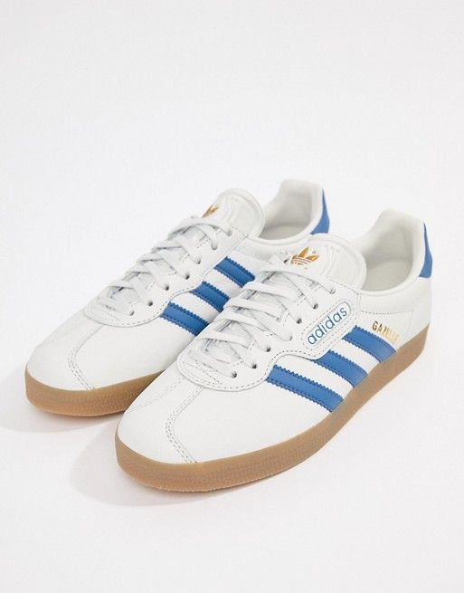 adidas Originals Gazelle Super Sneakers In White And Blue