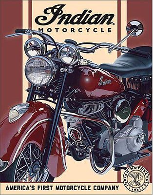 Indian Motorcycle Sign Chief 1948 Vintage Metal Advertising Tin Made in USA New…