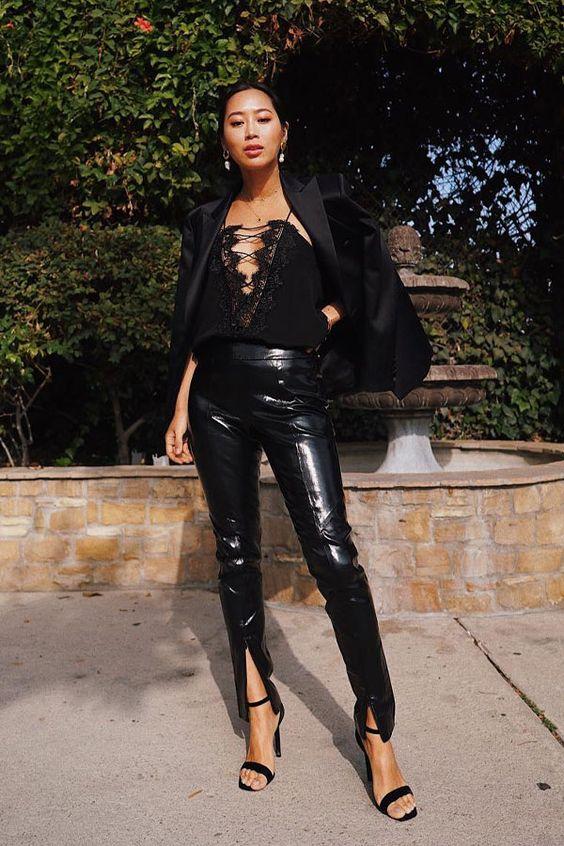 Aimee Song - calça de couro e regata - couro - outono/INVERNO - street style
