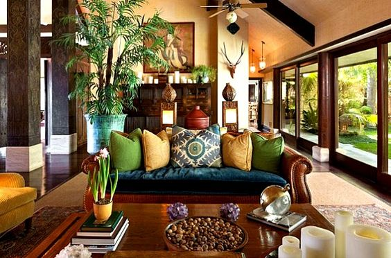 Balinese-style house.  Click on the photo and see all the pretty pictures.  Cheryl Tiegs Bel Air CA house - my style minus the horns