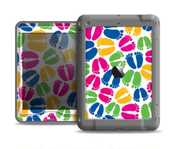 The Colorful Vector Footprints Apple iPad Air LifeProof Nuud Case Skin Set