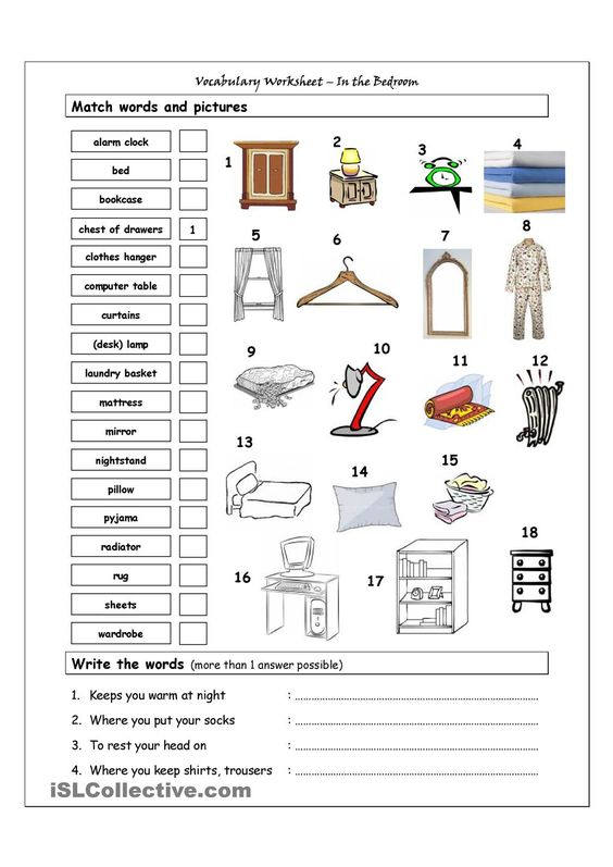 Vocabulary matching worksheet in the bedroom school for Chambre a coucher vocabulaire