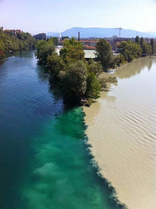 The Meeting Of Rhone And Arve Rivers In Switzerland | Geneva, Rhone, Arve, Which, Arrow