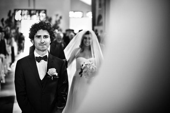 Bride arrival - groom reaction shot