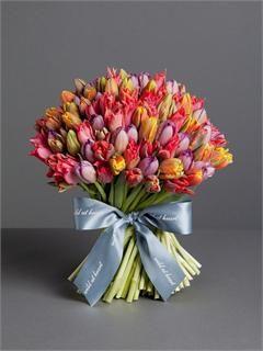 London Floral designer Nikki Tibbles ~ Wild at Heart ~ Tulip Mania ~ red, purple, yellow and orange tulips.