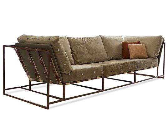 Captivating Stephen Kenn   Sofa Composed Of Steel Welded Frames With A Marbled Brown  Finish, Custom Webbing Belts, Smooth Leather Straps And Repurposed WWII Miu2026