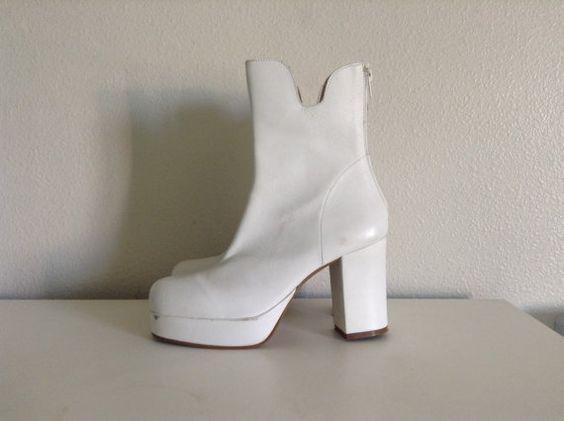 1970s White Italian Leather Platform Disco Grunge par 5iveby5ive