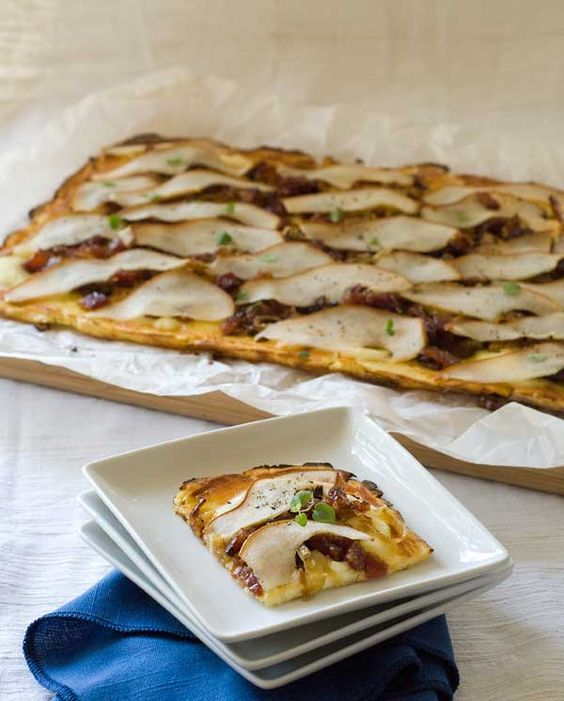 Pear, Candied Bacon and Carmelized Onions Pizza
