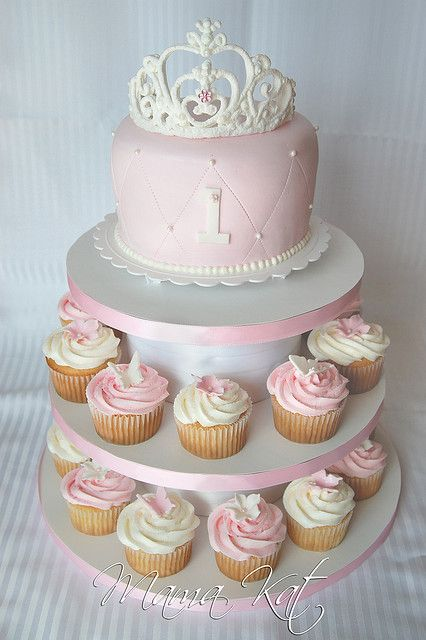 princess cake and cupcakes. Addy's leopard smash cake on top.