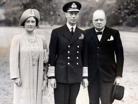 Queen Elizabeth, King George VI and Winston Churchill.