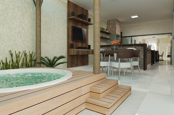 Planta de casa com área de lazer