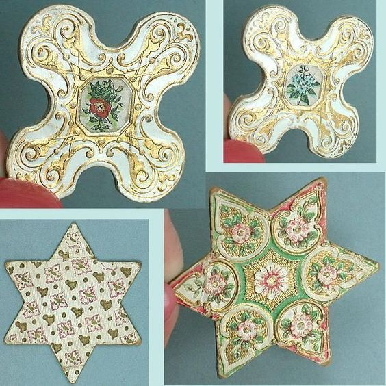 2 Antique Embossed Gold Card Silk/ Thread Winders * Germany * Circa 1870: