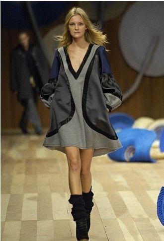 Silk and Wool Grey Loose Fashion Dress