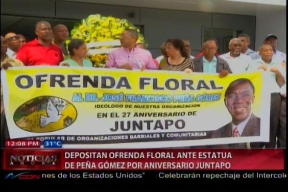 La Juntapo hace ofrenda floral ante estatua de Peña Gómez pora celebrar aniversario