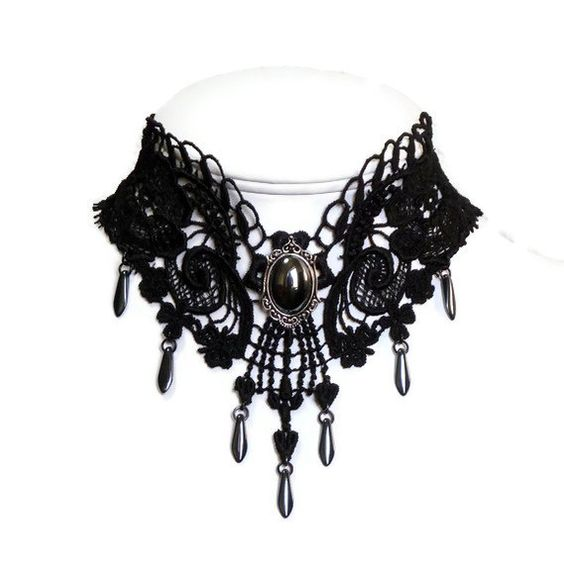 Black venetian lace choker necklace with hematite stone and drops (gothic, goth, jewelry, romantic, women, bib, renaissance, victorian):