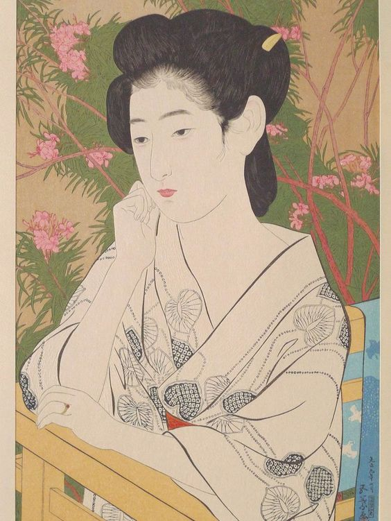 "Japanese Ukiyoe Shin-hanga Woodblock print antique Hashiguchi Goyo ""Woman Standing Before a Blossoming Peach Tree"""