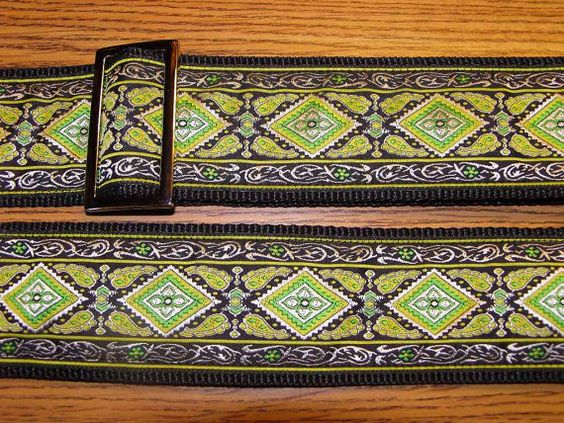 Embroidered Jacquard Trim GUITAR STRAP by ScentedSoftandSewn, $33.99