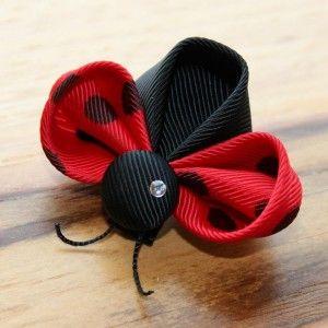 Kanzashi Ladybug Hair Clip: