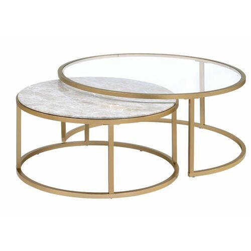 Anyan 2 Piece Coffee Table Set Nesting Coffee Tables Gold Nesting Coffee Table Coffee Table