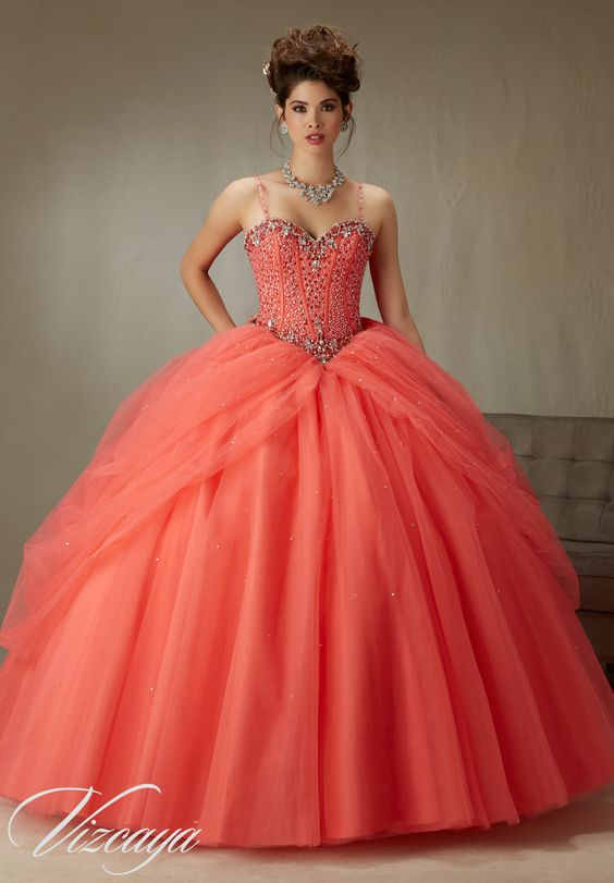 Quinceanera Dress Vizcaya Morilee 89071 Beaded, boned corset bodice on a tulle ball gown *removable beaded spaghetti straps* Colors: Coral, Scarlet, Capri and white